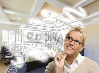 Daydreaming Woman With Pencil Over Custom Bedroom Photo Thought Bubble