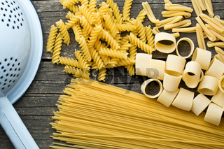 various uncooked pasta
