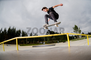 Skateboarder doing a ollie