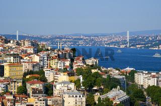 The view on  Bosphorus with Bosphorus bridge, Istanbul, Turkey