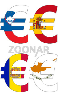euro with various flags
