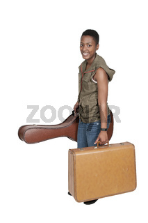 Woman with Guitar and suitcase