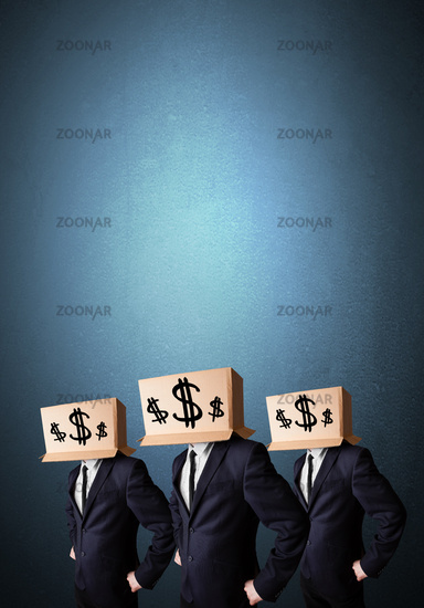 Handsome men in suit gesturing with drawn dollar signs on box