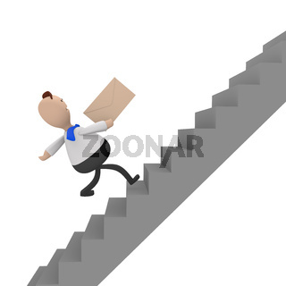 Businessman running fast upstairs, 3d rendering