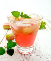 Lemonade with rhubarb and mint on light board