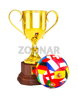 Gold trophy cup and soccer football ball with Europe flags