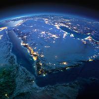 Detailed Earth. Saudi Arabia on a moonlit night