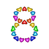 Number 8 made of multicolored hearts on white background