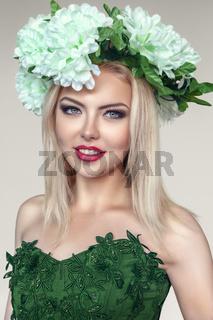 Woman portrait with flowers wreath on head