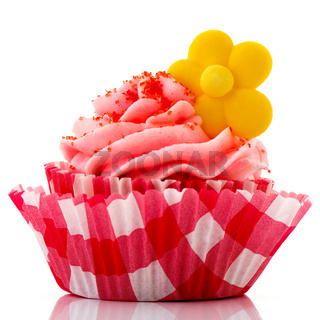 Red cupcake with yellow flower