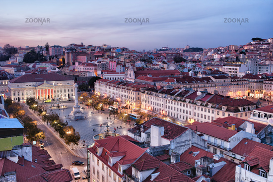 View Over City of Lisbon at Dusk in Portugal