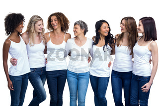 Happy multiethnic women standing together