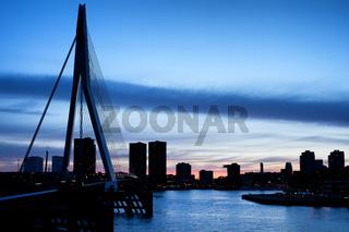 City of Rotterdam Skyline Silhouette