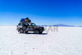 Car in the Salar de Uyuni