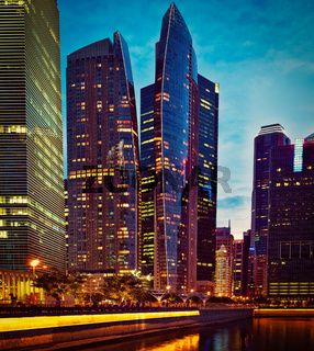Singapore downtown in evening
