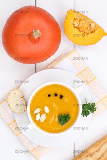 Pumpkin soup Pumpkin fresh soup Pumpkin cream soup in soup cup from above