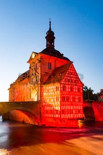 Illuminated historic town hall of Bamberg