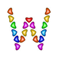 Letter W made of multicolored hearts on white background