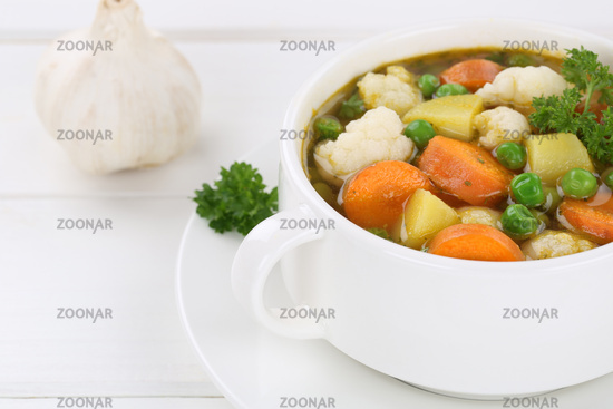 Vegetable soup Vegetable soup in soup cup dish