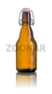Brown swing top beer bottle on a white background