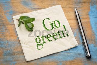Go green message on napkin