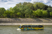 Bus swimming in river danube Budapest Hungary