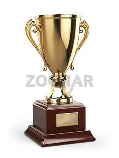 Golden cup trophy  isolated on white
