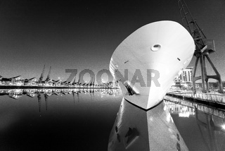 Ship and cranes with reflections, Royal Victoria Dock in black and white, Docklands, London, United Kingdom