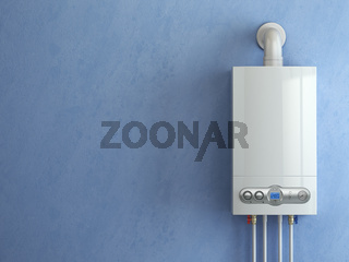 Gas boiler on blue background. Gas boiler home heating.