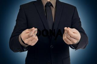 Geschäftsmann, Handzeichen mehr Geld