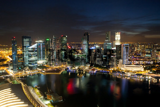 View of Singapore skyline from Marina Bay Sands
