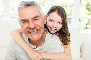 Portrait of granddad and granddaughter
