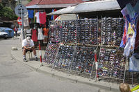 Sun glasses stall at marketplace in Poland