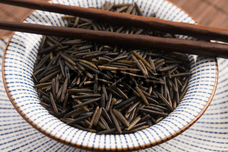 wild rice in a white ceramic bowl