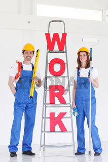 Workers with WORK letters