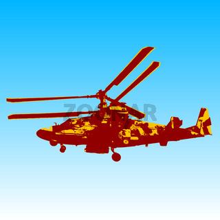 Russian helicopter Ka-52 (alligator). Vector illustration.