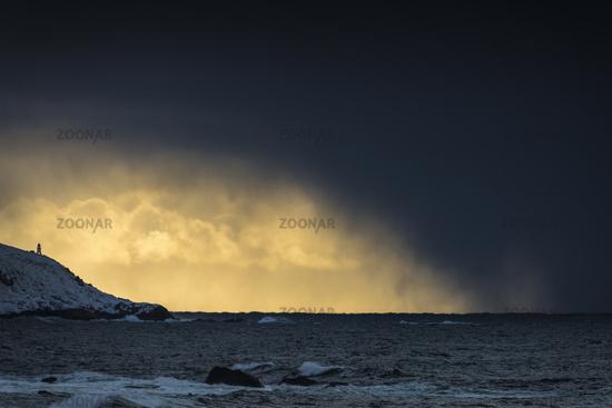 snow shower above the Atlantic, Lofoten, Norway