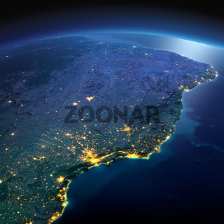 Detailed Earth. East Coast of Brazil on a moonlit night