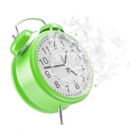 Soaring Clock alarm clock with broken glass shattered into small pieces.