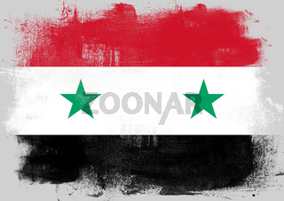 Flag of Syria painted with brush