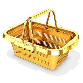 3d golden empty shopping basket