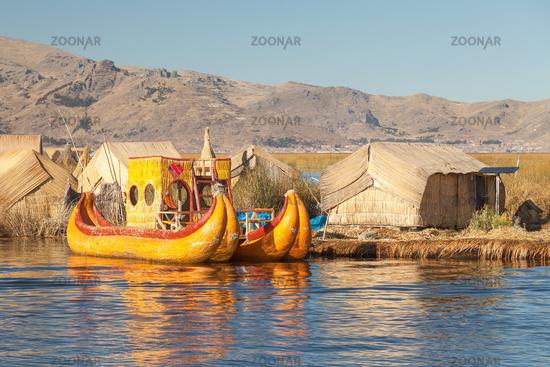 Reed boat on Island of Uros lake Titicaca Peru and Bolivia