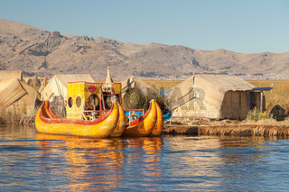 Reed boat on Island of Uros lake Titicaca Peru and Bolivia.