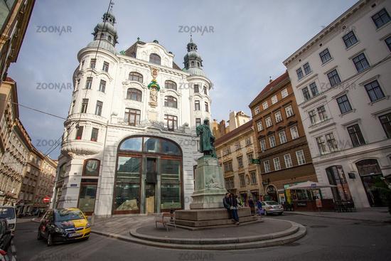 City lanscape with Johannes Gutenberg memorial. Vienna, Austria