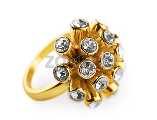 Golden  ring with diamonds