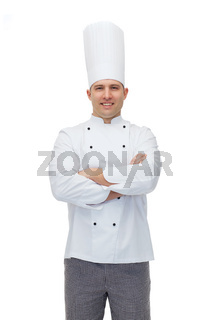 happy male chef cook with crossed hands