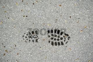 Profil eines Schuhabdrucks