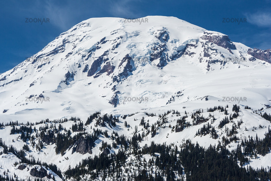 View of Mount Rainier summit covered by snow Washington USA