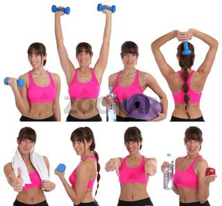 Collage lachen Fitness Frau beim Sport Workout Training mit Hanteln Freisteller