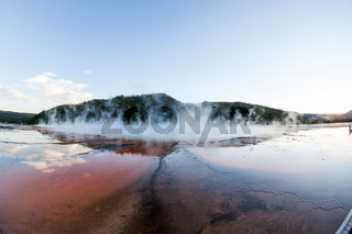 Grand Prismatic Spring at sunset in Yellowstone National Park, USA